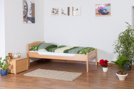 Lit simple 'Easy Premium Line' K1/2n, bois de hêtre massif naturel - Surface de couchage : 90 x 200 cm