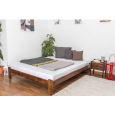 Lit d'adolescents bois de pin massif de couleur noyer A10, incl. sommier à lattes – Dimensions : 160 x 200 cm