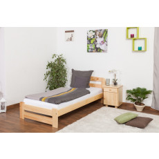 Lit simple / d'ami bois de pin massif naturel A7, incl. sommier à lattes – Dimensions : 90 x 200 cm