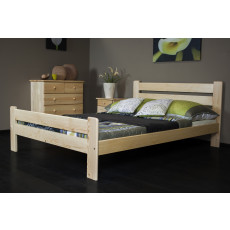 Lit d'adolescents bois du pin massif naturel A23, incl. sommier à lattes – Dimensions : 160 x 200 cm