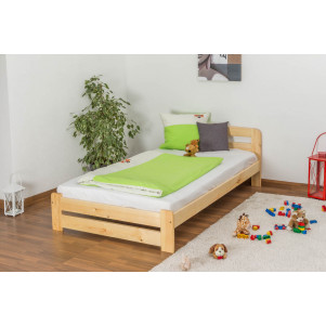 Lit d'enfants / d'adolescents bois de pin massif naturel A7, incl. sommier à lattes – Dimensions : 120 x 200 cm
