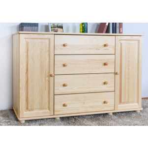 Commode en bois de pin massif, naturel Junco 162 - Dimensions : 100 x 160 x 42 cm (H x L x P)