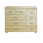 Chest of drawers Columba 20, 9 drawers, solid pine wood, clearly varnished - size 101H x 121W x 50D cm