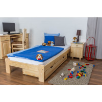 Lit d'enfants / d'adolescents bois de pin massif naturel A10, incl. sommier à lattes – Dimensions : 90 x 200 cm