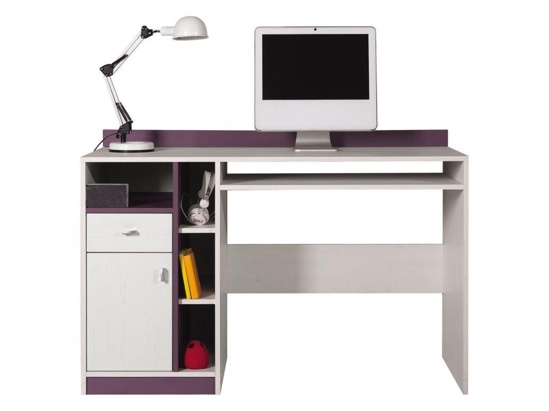 "chambre d'adolescent - bureau ""fabien"" 10, pin blanc / lilas"